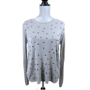 Topshop Split Back Pullover Sweater Womens 4 Gray